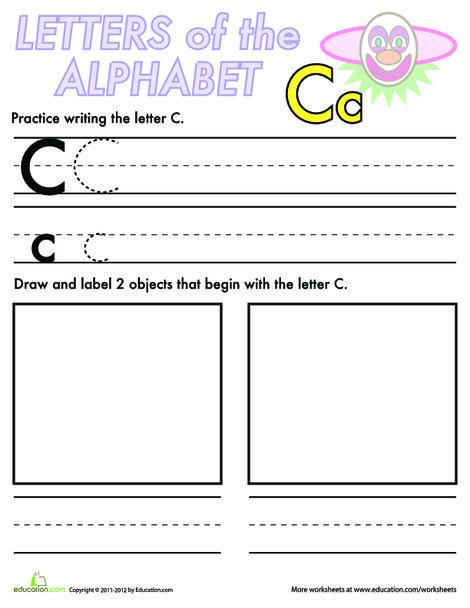 Kindergarten Reading & Writing Worksheets: Alphabet Practice: C