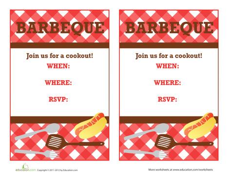 Third Grade Arts & crafts Worksheets: Barbeque Invitation 2