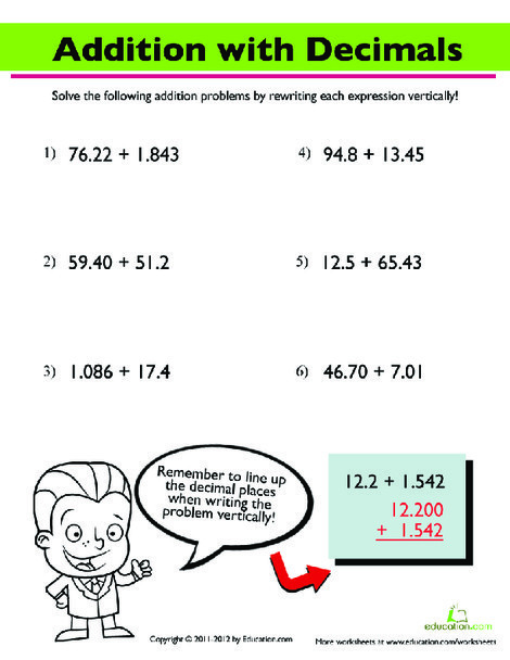 Fourth Grade Math Worksheets: Addition with Decimals