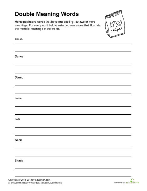 Fourth Grade Reading & Writing Worksheets: Words That are Nouns and Verbs