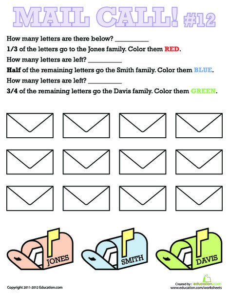 Second Grade Math Worksheets: Mail Call Fractions 12