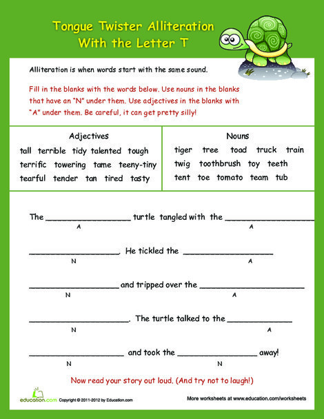 """Third Grade Reading & Writing Worksheets: Alliteration Tongue Twisters: """"T"""""""