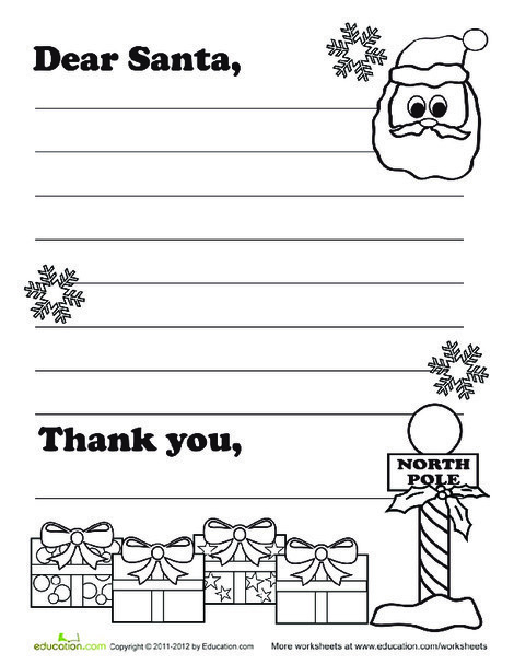 Third Grade Reading & Writing Worksheets: Write Santa A Letter