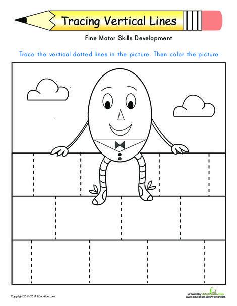 Preschool Reading & Writing Worksheets: Tracing Vertical Lines