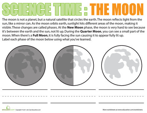 Third Grade Science Worksheets: The Moon: A Natural Satellite