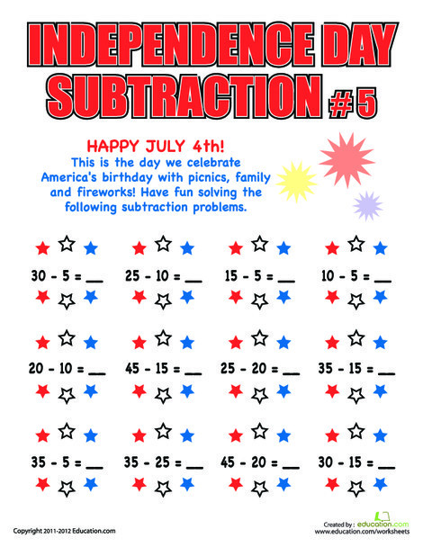 Second Grade Holidays Worksheets: Independence Day Subtraction #5