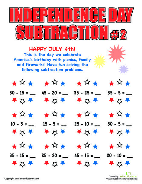 Second Grade Holidays Worksheets: Independence Day Subtraction #2
