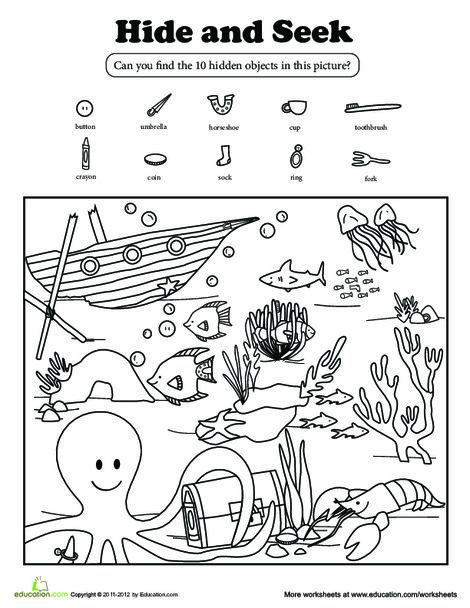 Kindergarten Coloring Worksheets: Hide and Seek