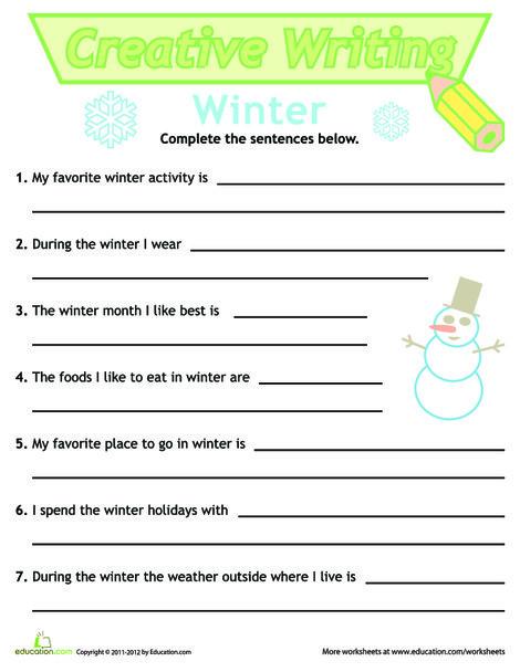First Grade Reading & Writing Worksheets: Sentence Writing: Winter