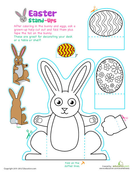 Preschool Holidays Worksheets: Easter Bunny Stand-Ups