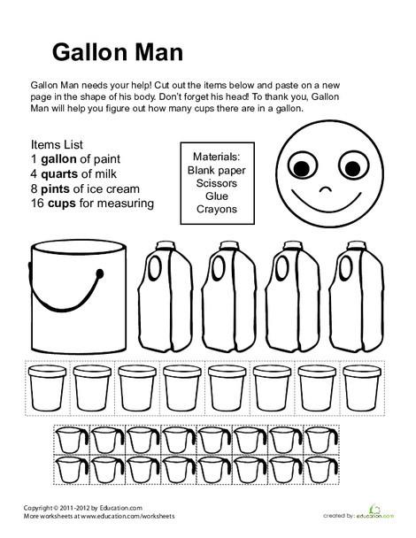 Third Grade Math Worksheets: Gallon Man Printable