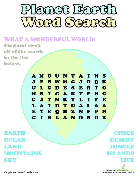 First Grade Reading & Writing Worksheets: Word Search: Planet Earth