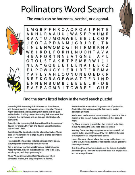 Fourth Grade Reading & Writing Worksheets: Flowers in Love: Pollinators Word Search