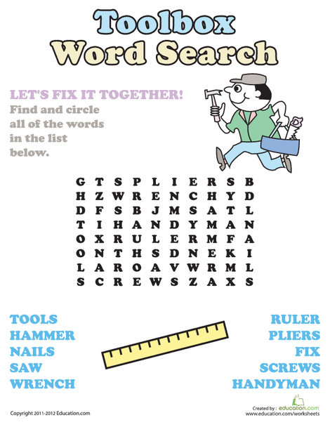First Grade Reading & Writing Worksheets: Word Search: Tool Box