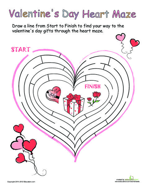 Kindergarten Offline games Worksheets: Valentine's Heart Maze