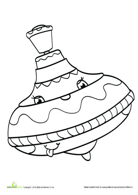 Preschool Coloring Worksheets: Spinning Top Coloring Page