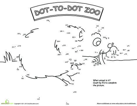 Second Grade Math Worksheets: Skip Count Dot-to-Dot