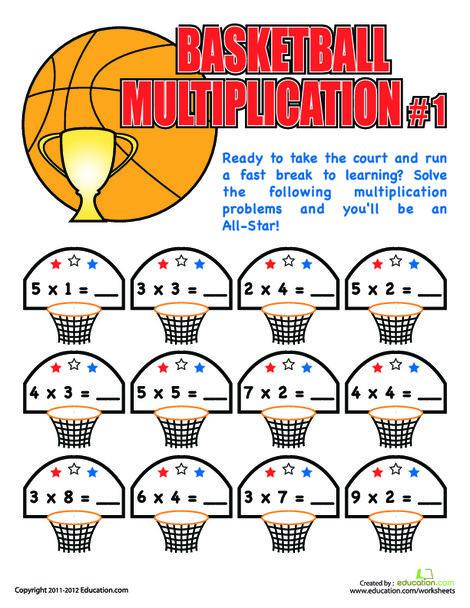 Third Grade Math Worksheets: Basketball Multiplication