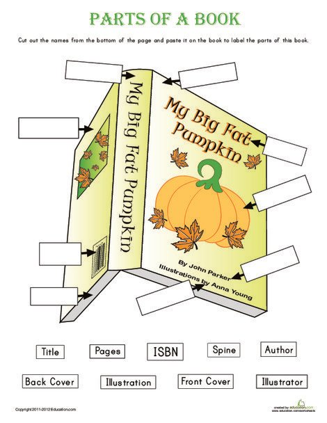 Kindergarten Reading & Writing Worksheets: Parts of a Book