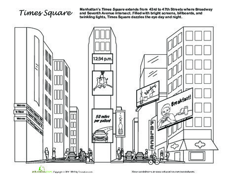 First Grade Coloring Worksheets: Times Square Coloring Page