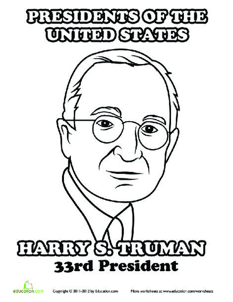 First Grade Social studies Worksheets: Harry Truman Coloring Page