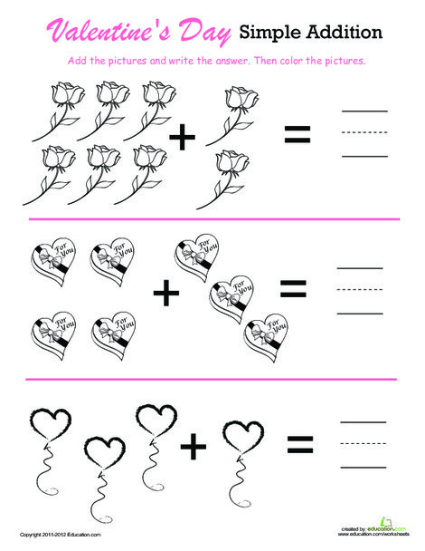 Preschool Math Worksheets: Valentine's Day Addition & Coloring!