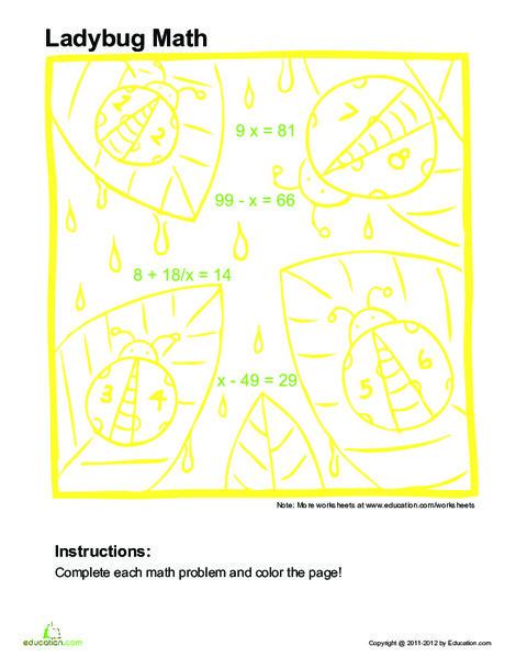 Fifth Grade Math Worksheets: Algebra Coloring Page #1