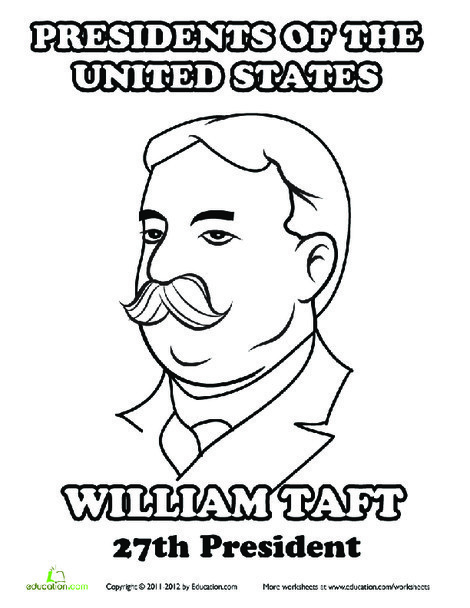 First Grade Coloring Worksheets: William Taft Coloring Page
