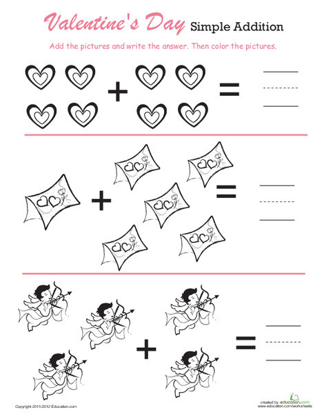 Preschool Math Worksheets: Count & Color Valentine's Day Addition