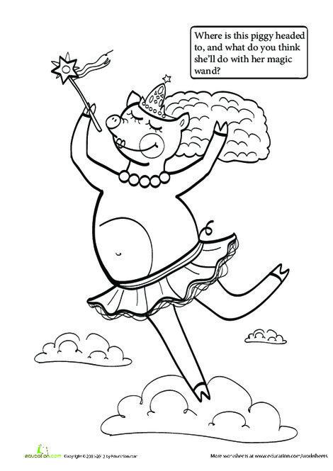 First Grade Reading & Writing Worksheets: Piggie Princess Story Starter