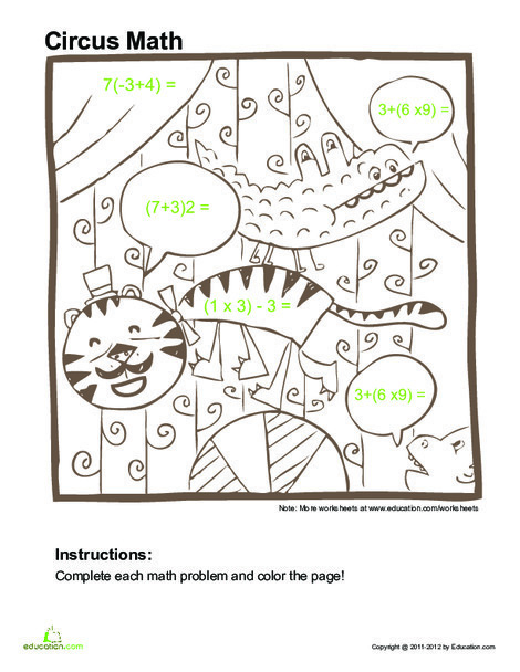 Fifth Grade Math Worksheets: Order of Operations Practice #1