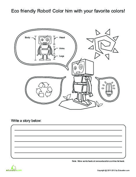 First Grade Reading & Writing Worksheets: Robot Story Starter