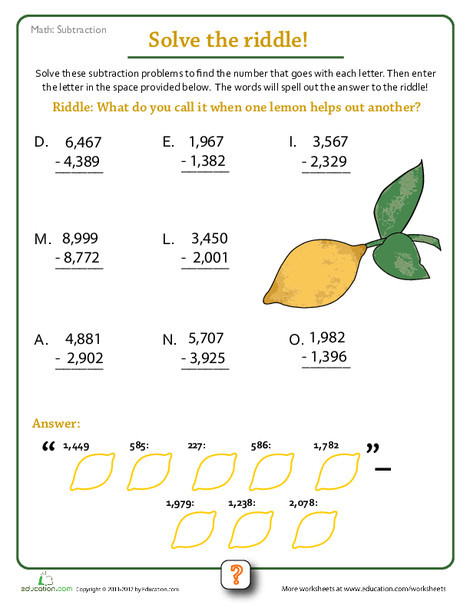 Fourth Grade Math Worksheets: Subtraction Riddles #3