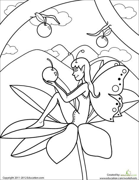 First Grade Coloring Worksheets: Color the Cherry Fairy!