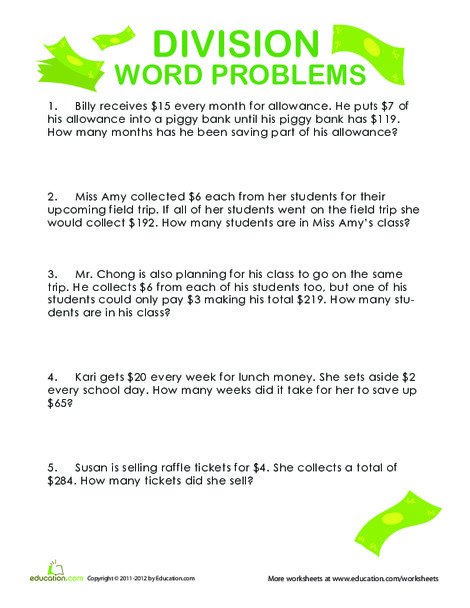 Fourth Grade Math Worksheets: Division Word Problems: Show Me the Money!