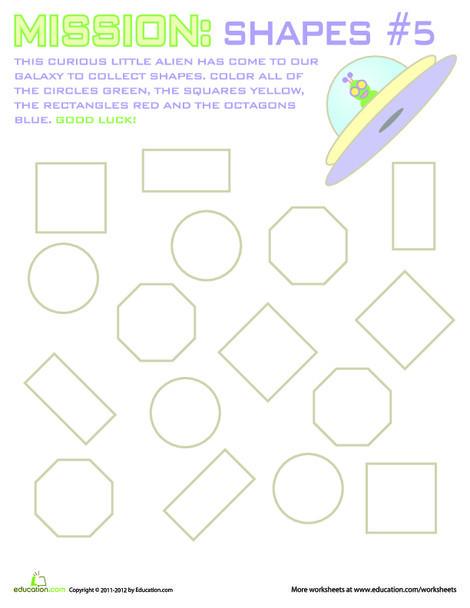 Kindergarten Math Worksheets: Mission: Shapes #5