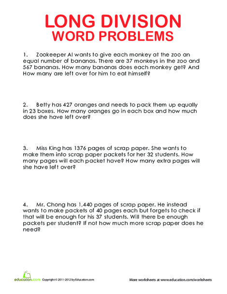 Fourth Grade Math Worksheets: More Long Division Word Problems