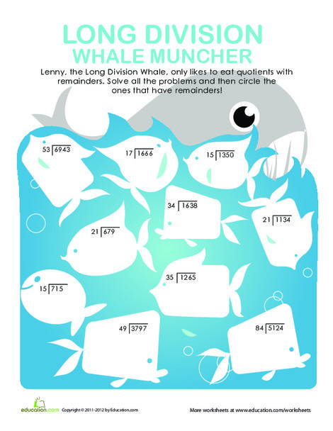Fourth Grade Math Worksheets: Long Division Whale Muncher