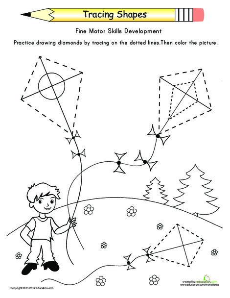 Preschool Math Worksheets: Tracing Shapes: Diamonds