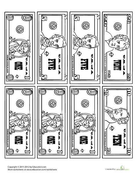 Second Grade Math Worksheets: Money Coloring Page