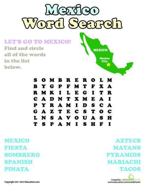 Second Grade Reading & Writing Worksheets: Mexico Word Search