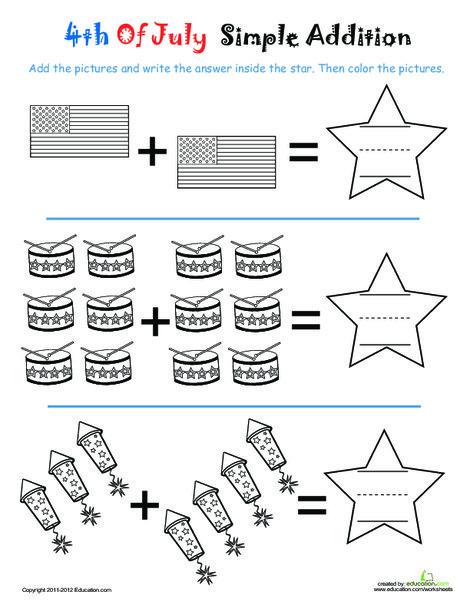 Kindergarten Math Worksheets: Fourth of July Coloring & Addition: Rockets!