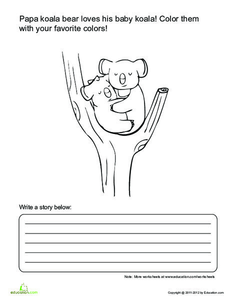 First Grade Reading & Writing Worksheets: Cute Koala Story Starter