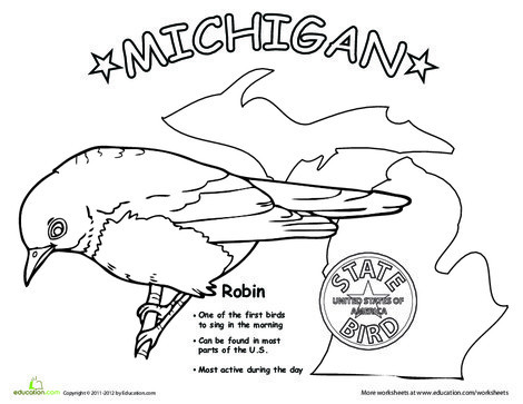 First Grade Coloring Worksheets: Michigan State Bird