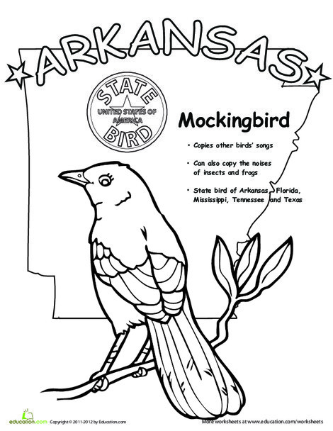 First Grade Coloring Worksheets: Arkansas State Bird