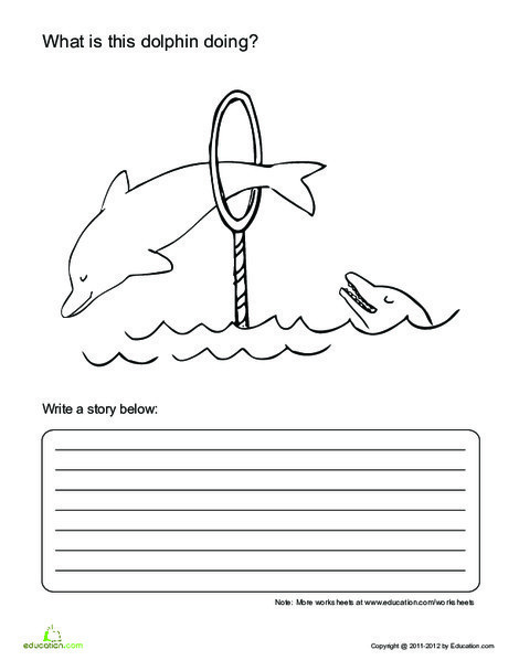First Grade Reading & Writing Worksheets: Dolphin Story Starters