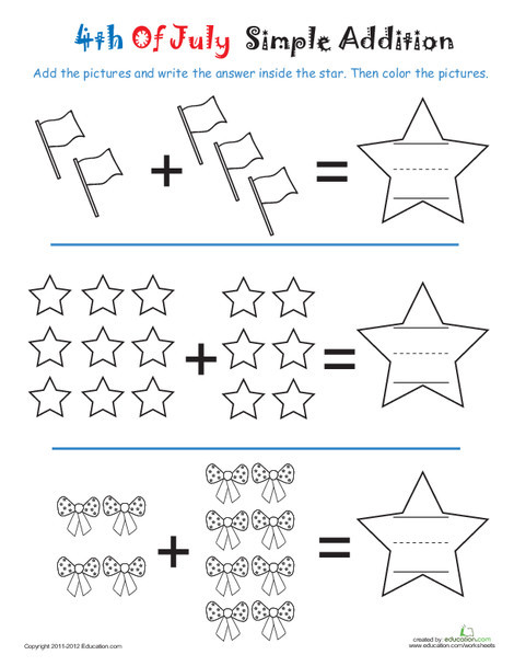 Kindergarten Math Worksheets: Addition Coloring Page: 4th of July Stars