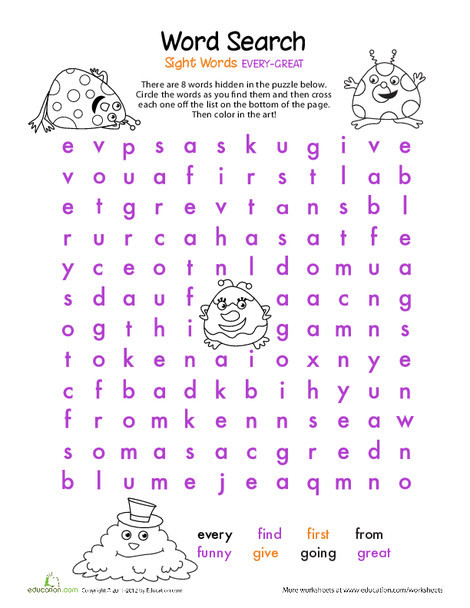 First Grade Reading & Writing Worksheets: Alphabet Word Search: E, F, G