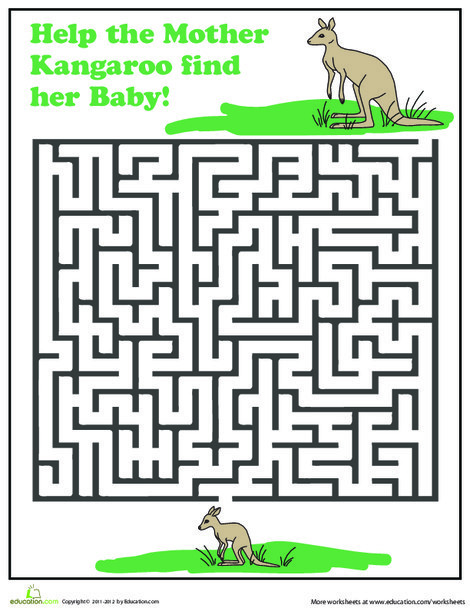 First Grade Offline games Worksheets: Kangaroo Maze