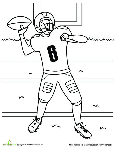First Grade Coloring Worksheets: Football Player Coloring Page